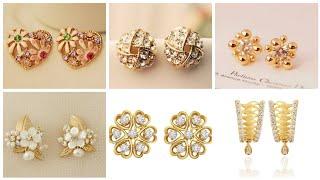 Ravishing And Stylish Rose Gold Stud Earrings - Pearl Diamond Rhinestone Gold Stud Designs