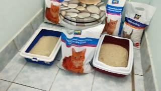 Матюша тестирует наполнители для лоточка. Часть 1 / Cat's litter box