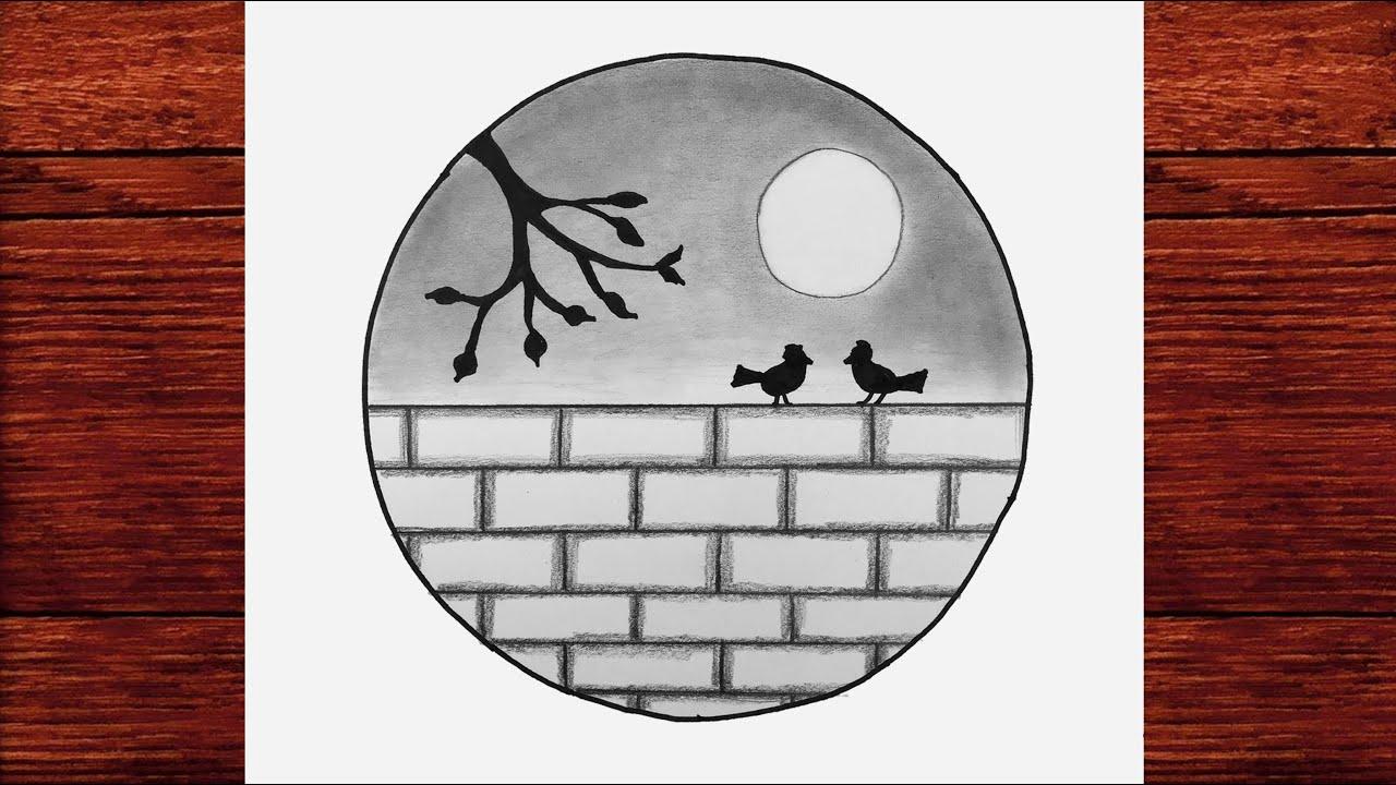 Kolay Karakalem Manzara Çizimleri - Karakalem Çizimleri Kolay - Çizim Mektebi Karakalem