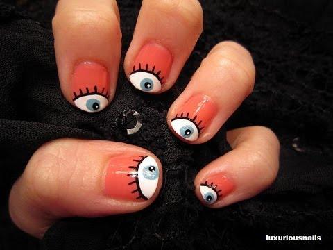 Girly Eyeball Nail Art Tutorial - YouTube