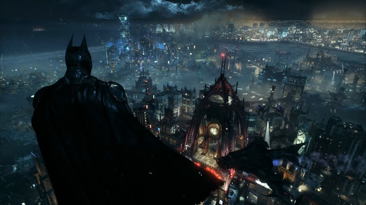Wallpaper Engine Batman Arkham Knight Batman Overlooking Gotham From Wayne Tower