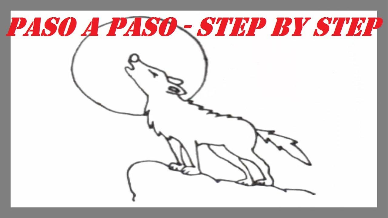 Como dibujar un Lobo aullando a la Luna l How to draw a Wolf