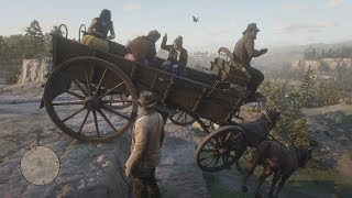 Epic Horse Wagon Crashes   Red Dead Redemption 2