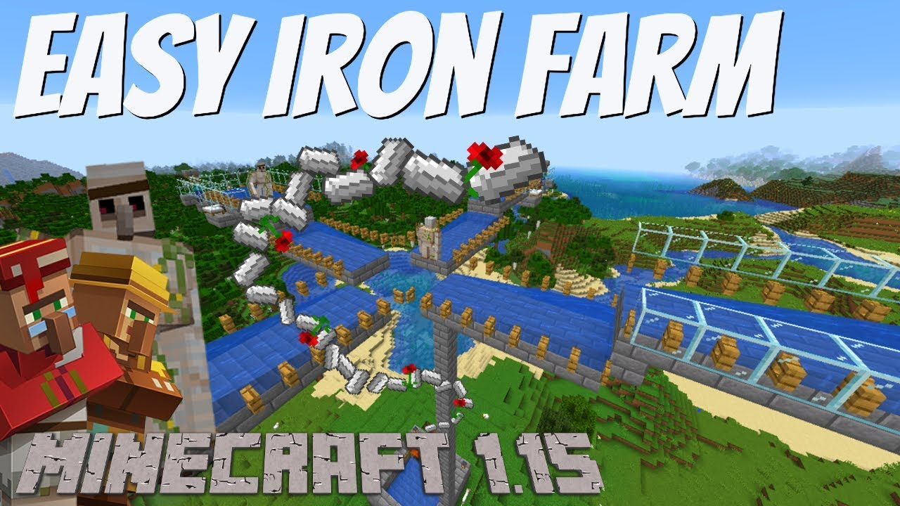 How To Make An Iron Farm In Minecraft 1 15 1 15 1 Minecraft Iron Golem Farm Tutorial Avomance Youtube