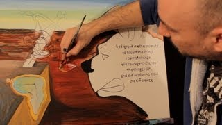 ADDING TEXT TO YOUR PAINTINGS DALI Style Surreal Landscape ART with Acrylic Paint