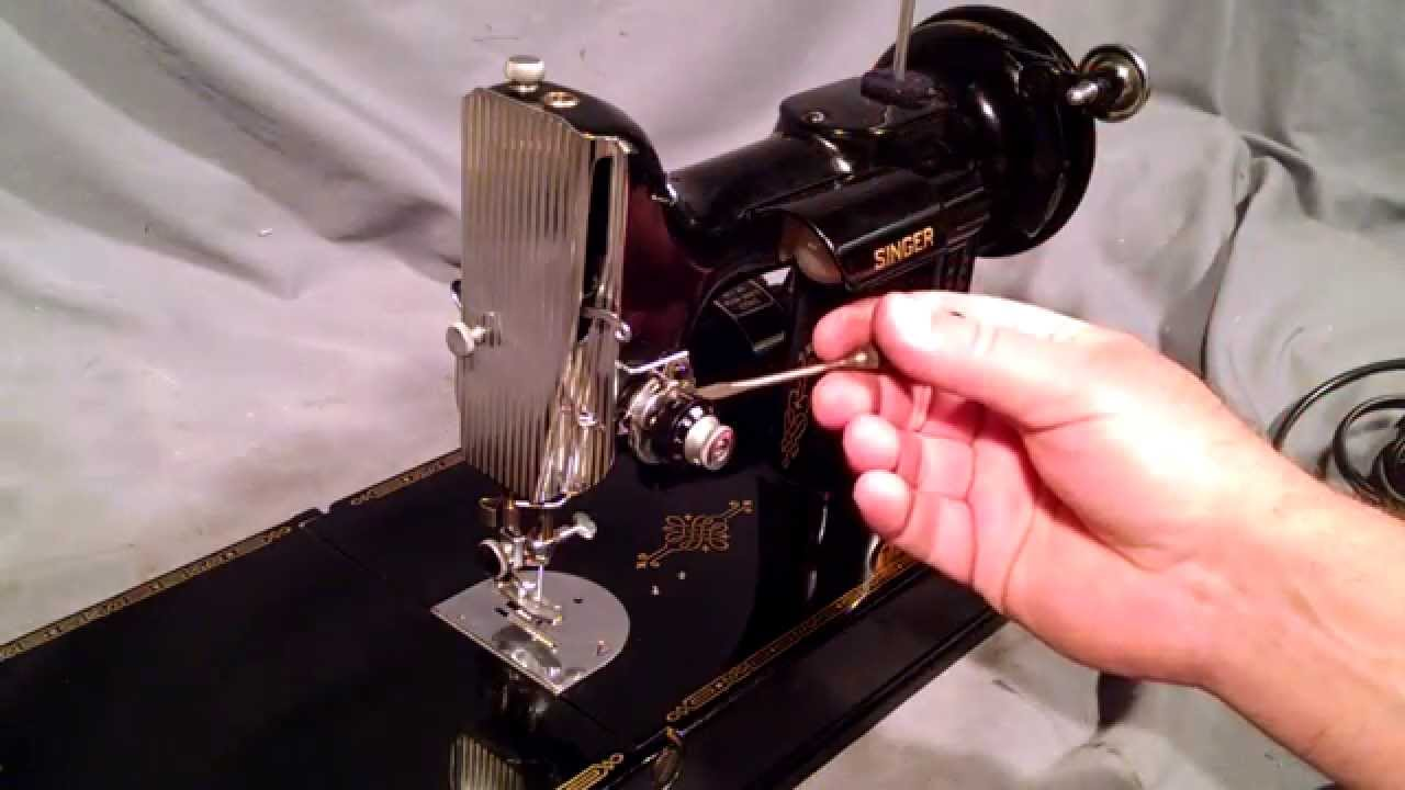 how to thread a vintage singer featherweight 221 sewing machine and bobbin case youtube [ 1280 x 720 Pixel ]