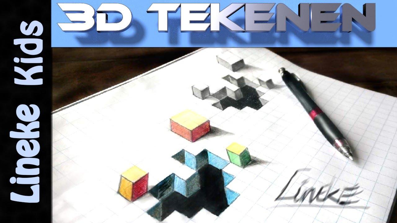 3d tekening gat tekenen en kubus in stappen voor for Tekenen 3d