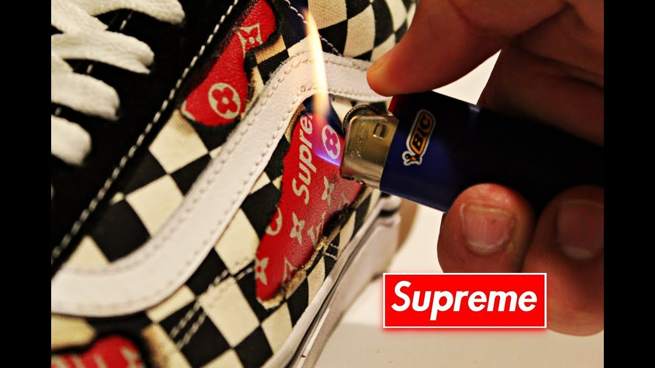 78d1009498f SUPREME X Louis Vuitton CUSTOM VANS! Burned Holes  MUST SEE!!  - YouTube