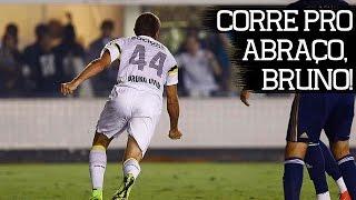 Bruno Uvini comemora primeiro gol como profissional - Brasileirão 2014 - Santos 2 x 0 Palmeiras