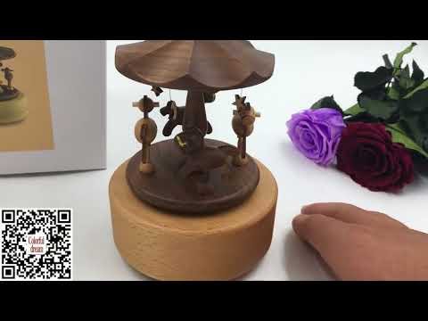 Creative Wooden Carousel Music Box - Music Note Gifts