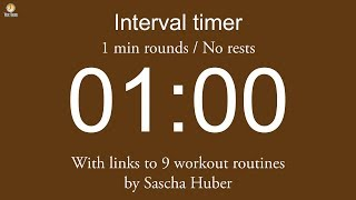 Interval timer - 1 min rounds / No rests (with links to 9 work…