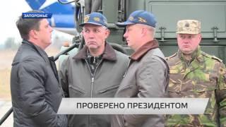 В Запорожье Президент Украины испытал истребитель СУ-27.