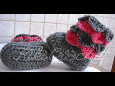 Crochet Crocodile Stitch Booties (English Tutorial) - YouTube