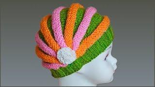 Шапка Зефирка. Шапка жгутами. Шапка спицами для девочки. Модная шапка спицами. (knitting cap)