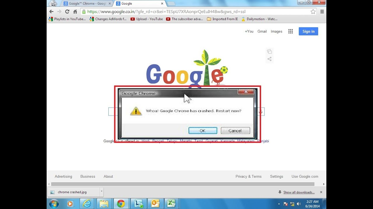 Whoa! Google™ Chrome Has Crashed. On Windows® 8