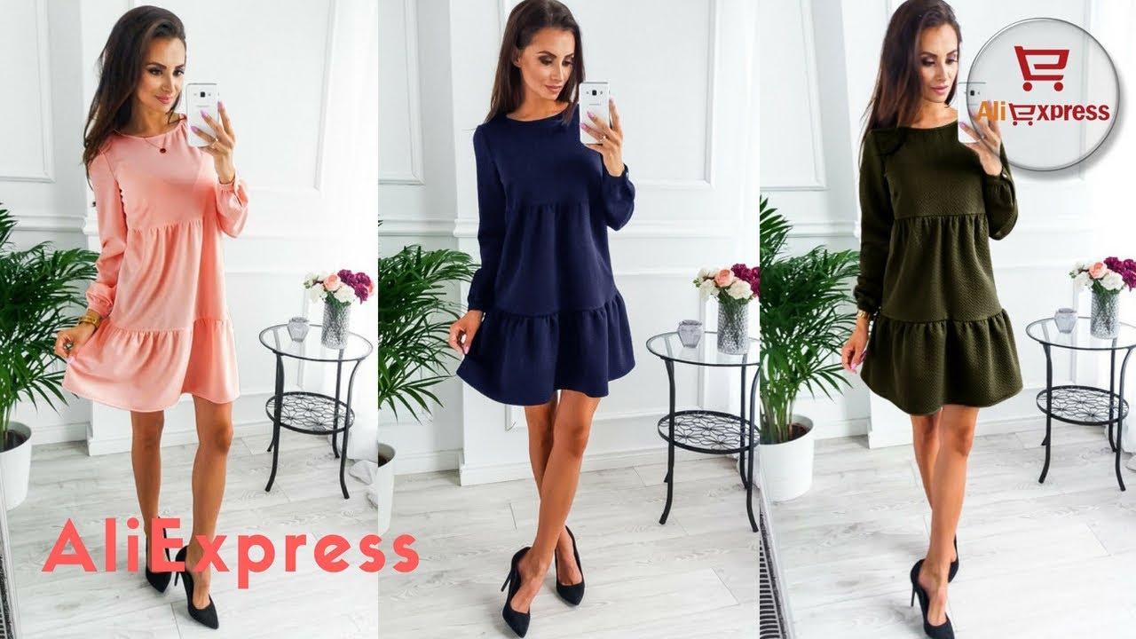 496efebf145d477 Одежда с AliExpress. Короткие драпированные платья осень зима с ...