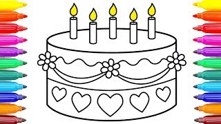 Birthday Cake Drawing & Coloring For Kids | Coloring Pages For Children  #ColoringPainting -22