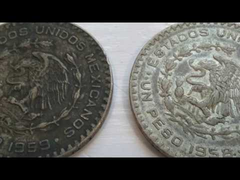A 1958 & 1959 Un Peso Mexicanos Coins
