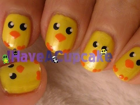 Super Easy Easter Chick Nail Art - Super Easy Easter Chick Nail Art - YouTube