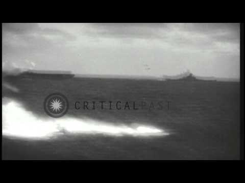 US Task Force shoots down three Japanese aircraft in the Pacific Ocean off the co...HD Stock Footage