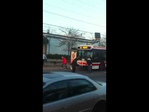 Crazy lady attacks ttc bus