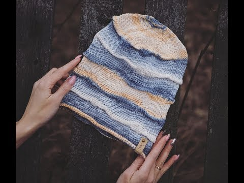 Шапка со складками спицами