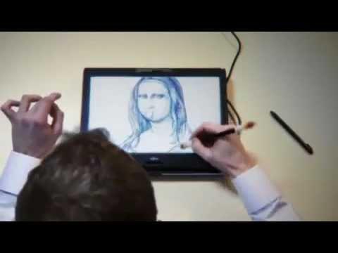 Quay bút siêu đẳng vẽ hình Monalisa trên tablet