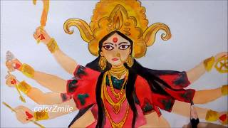 How to DRAW MAA DURGA | How to draw GODDESS DURGA in Watercolours