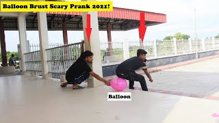 Popping balloon brust scary prank🥶Public reaction😃try to not laugh