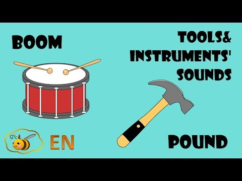 Music instruments and tools sounds  First words for baby  Onomatopoeia  examples cartoon for kids