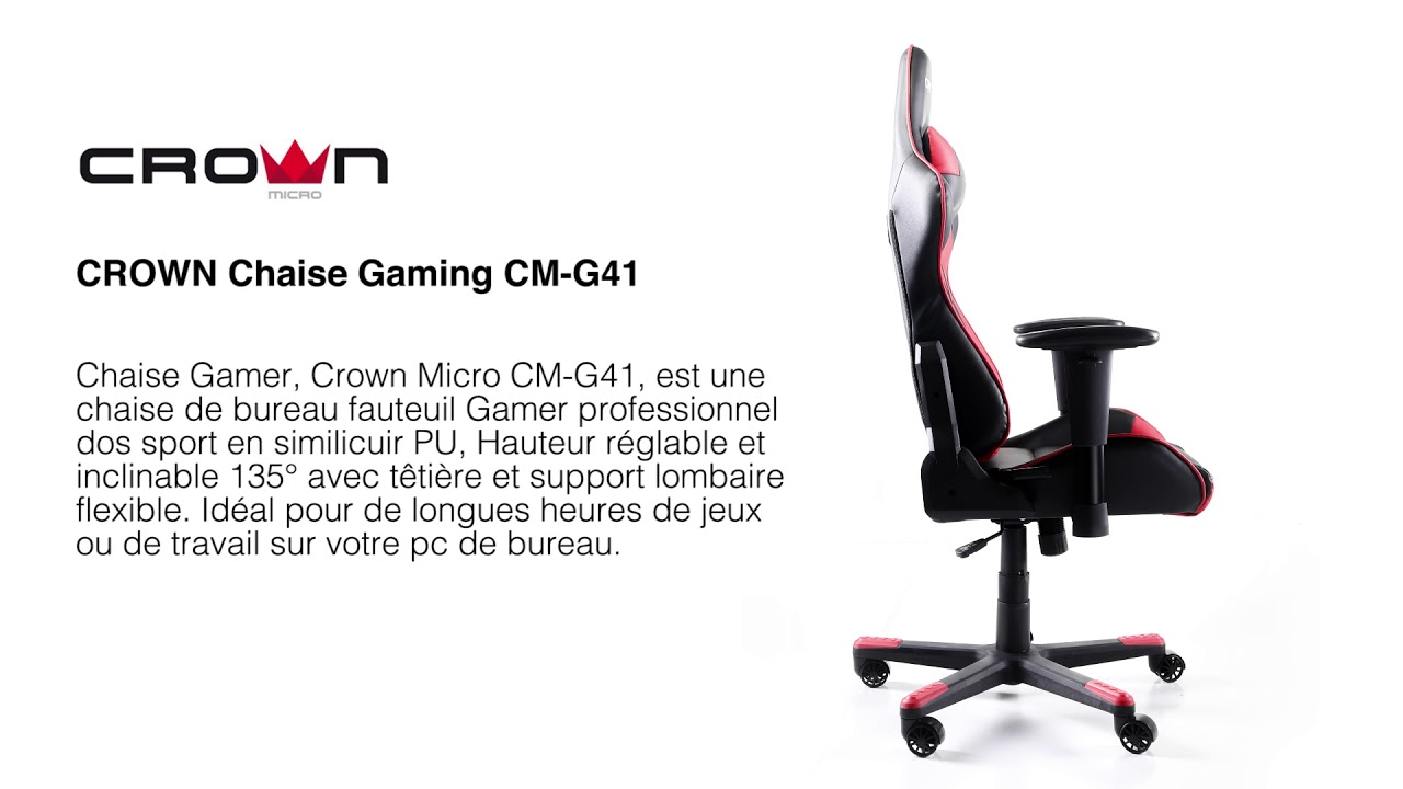 Maroc Achat G41 Video Chaise Crown Jeux Gaming Cm xWrodCBeQE
