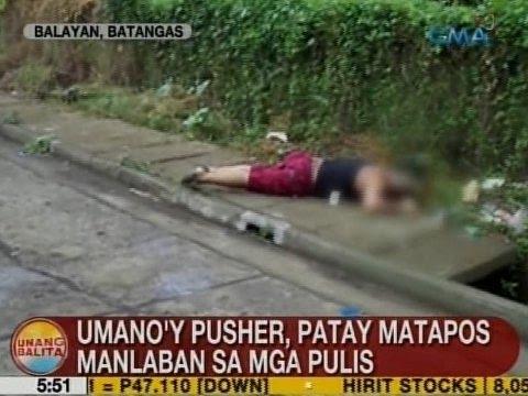 UB: Umano'y pusher, patay matapos manlaban sa mga pulis sa Balayan, Batangas