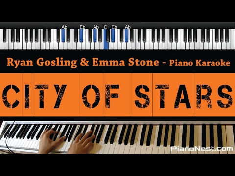 Ryan Gosling & Emma Stone - City of Stars - Piano Karaoke / Sing Along / Cover with Lyrics