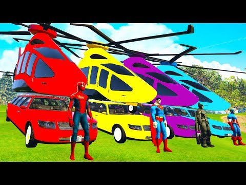 Thumbnail: LEARN COLOR Helicopter on Cars w Spiderman cartoon for kids - Superheroes for babies
