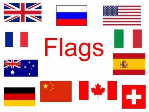 Çocuklar için İngilizce. Ülkeler. Bayraklar.