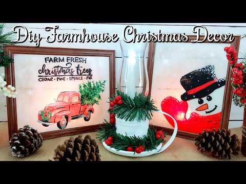 DIY 3 Dollar Tree Farmhouse Christmas Decor // DIY Farmhouse Lantern & Painted Glass