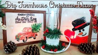 DIY 3 Dollar Tree Farmhouse Christmas Decor // DIY Farmhouse Lantern & Painted Glass
