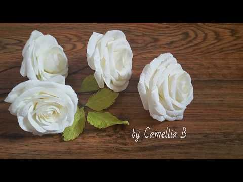 Crepe paper flowers, How to make Garden Rose from crepe paper, white