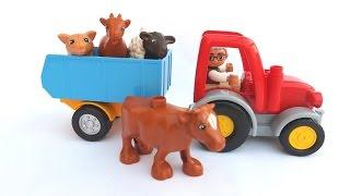 ✿♫ Лего Трактор на Лего Ферме и Домашние животные - песенка А у дедушки есть ферма