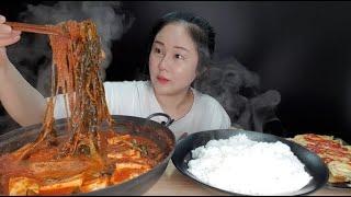 요리먹방:) 직접 만든 꽁치 실비파김치찌개 치즈계란말이 먹방 spicy green onion kimchi stew rolled omelet mukbang