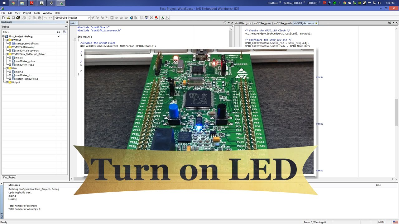 STM32F4 Tutorial : How to turn on LED on STM32F4-Discovery board using IAR  IDE