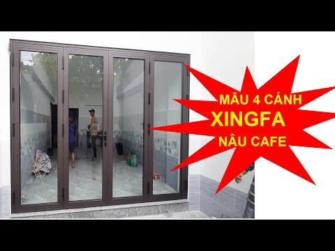 Mẫu cửa chính 4 cánh nhôm Xingfa Việt Nam màu nâu cafe