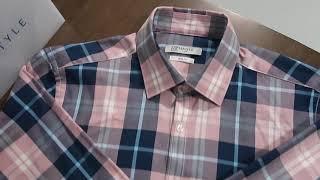 레디코 레디핏 핑크 네이비 타탄 체크 슬림 긴팔 셔츠 …