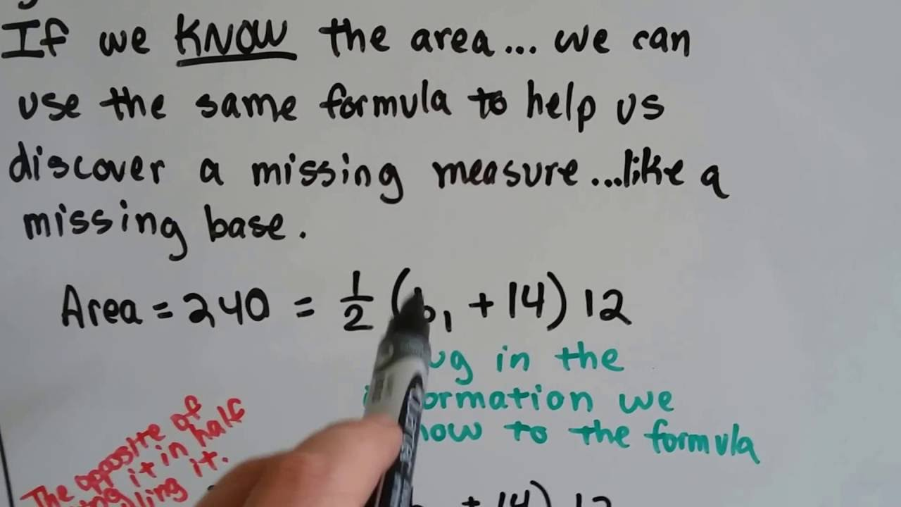 Grade 6 Math #126b, Find Missing Base Or Height Of A Triangle Or Trapezoid