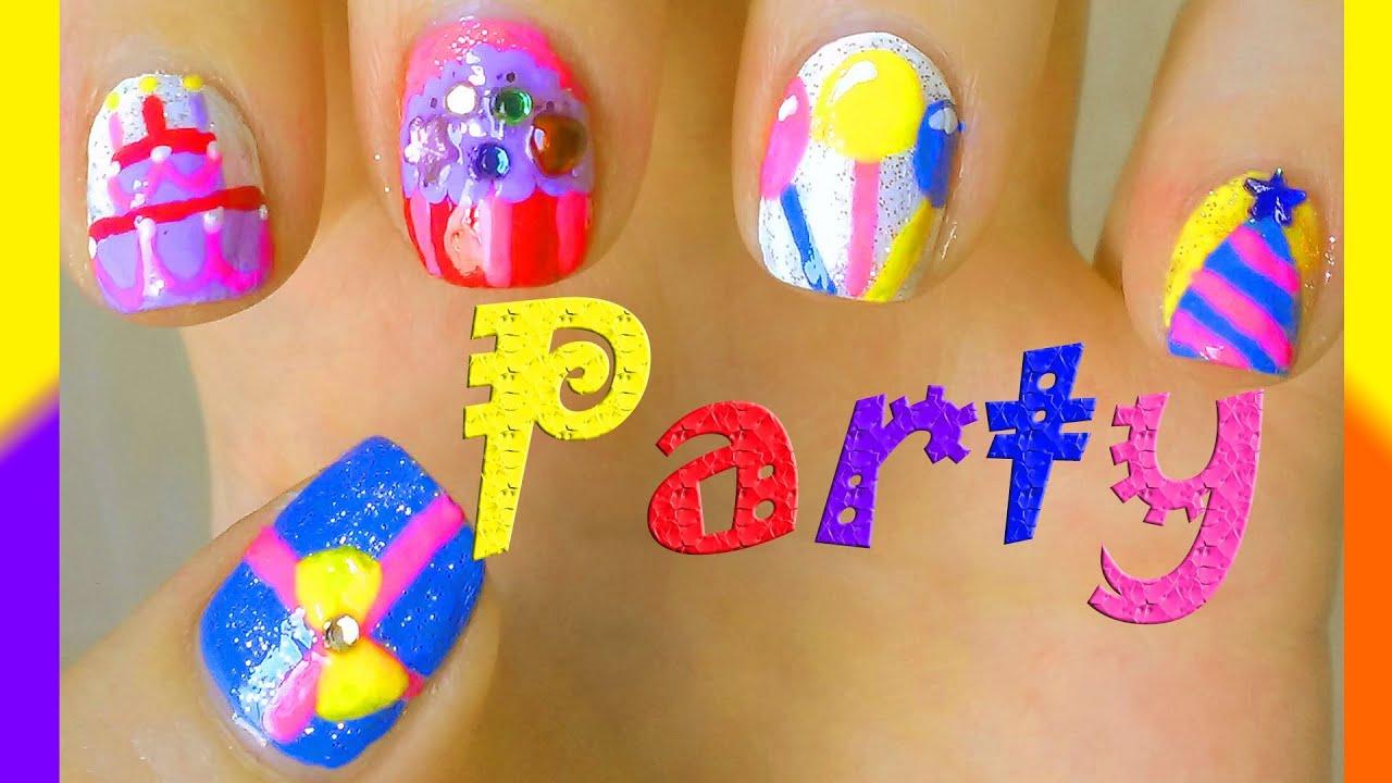 happy birthday party nail art