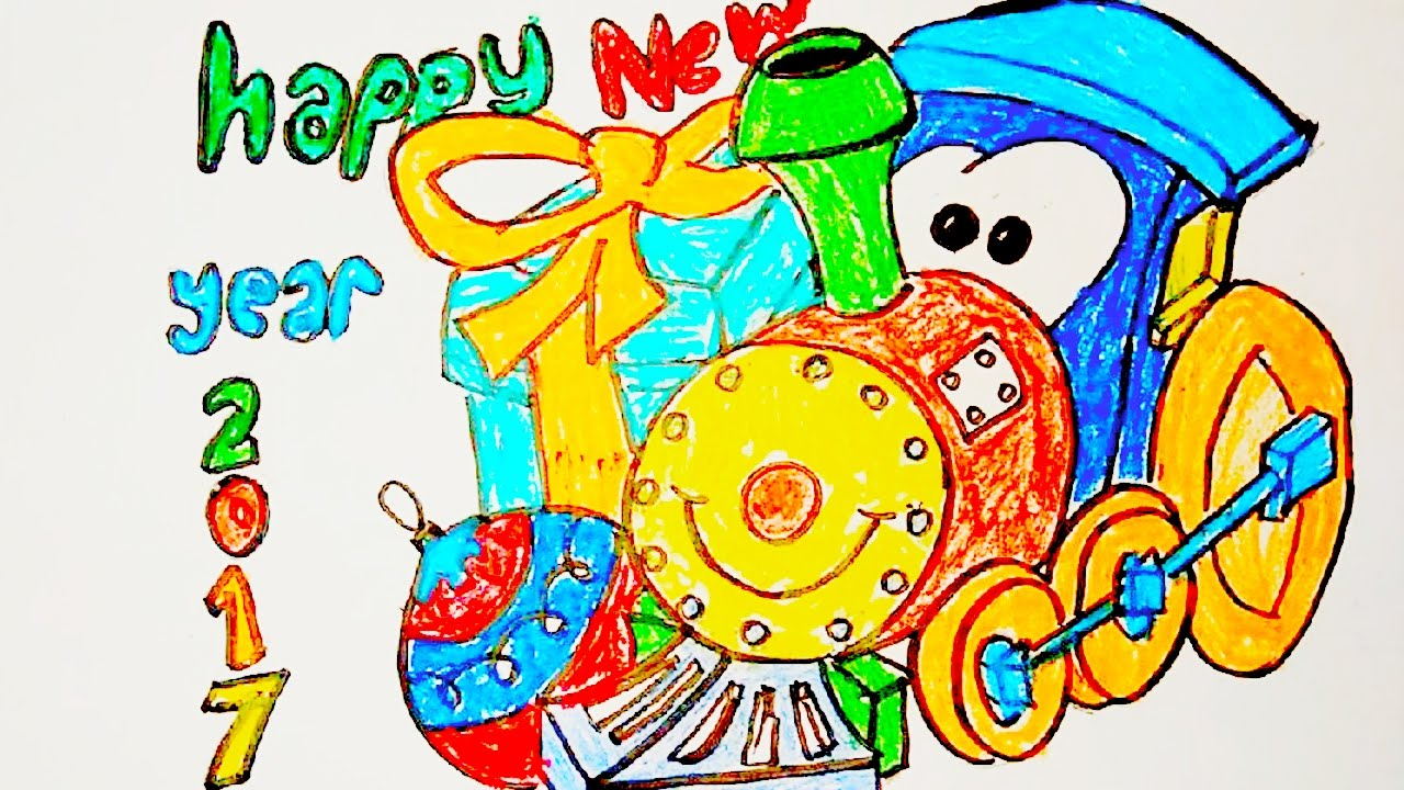 toy train greeting cards drawing for new year 2017 how to draw a train for kids step by step