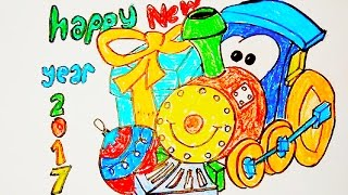 Toy train greeting cards drawing for new year 2017,  How to Draw a Train for Kids step by step
