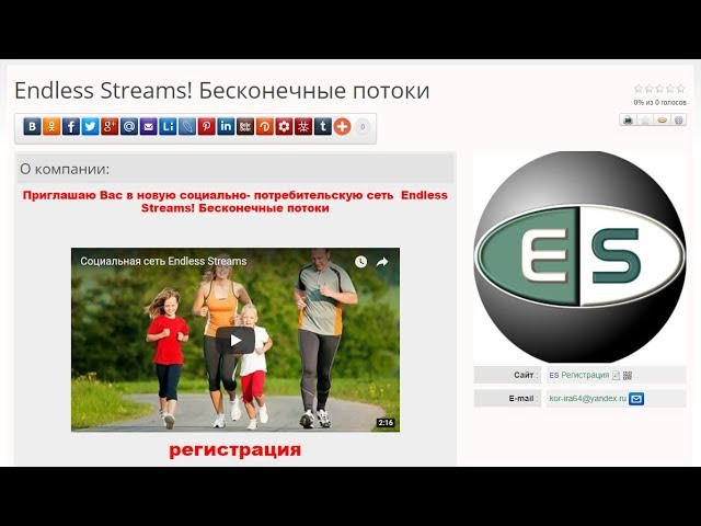 Социальная сеть ES. Создание странички в каталоге