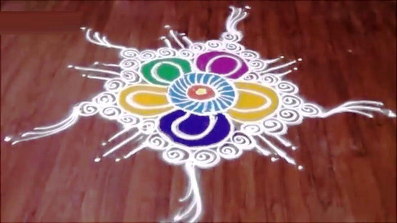 Multi Color Rangoli Design in SanskarBharti Free Hand Style - YouTube