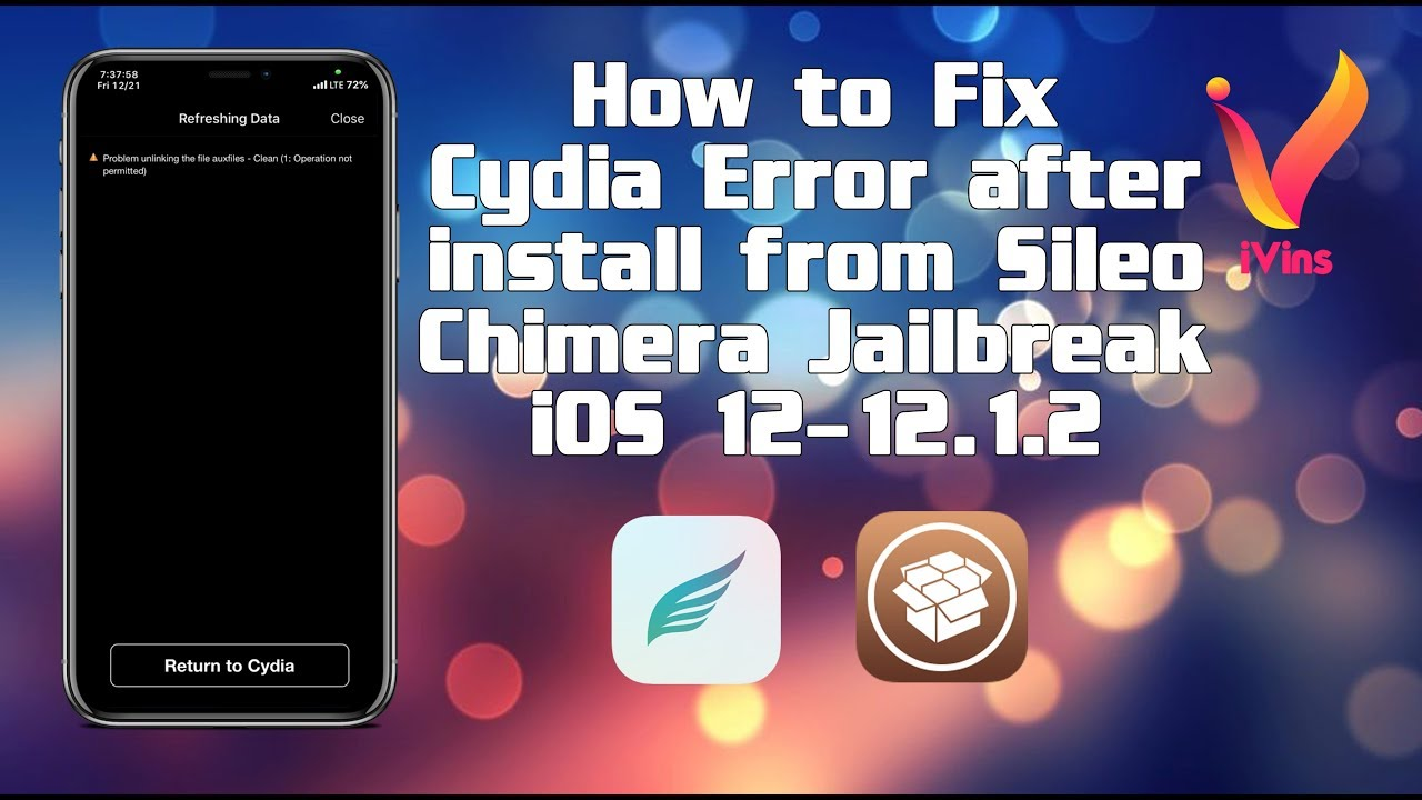 How to Fix Cydia Error after install from Sileo | Chimera Jailbreak | iOS  12-12 1 2